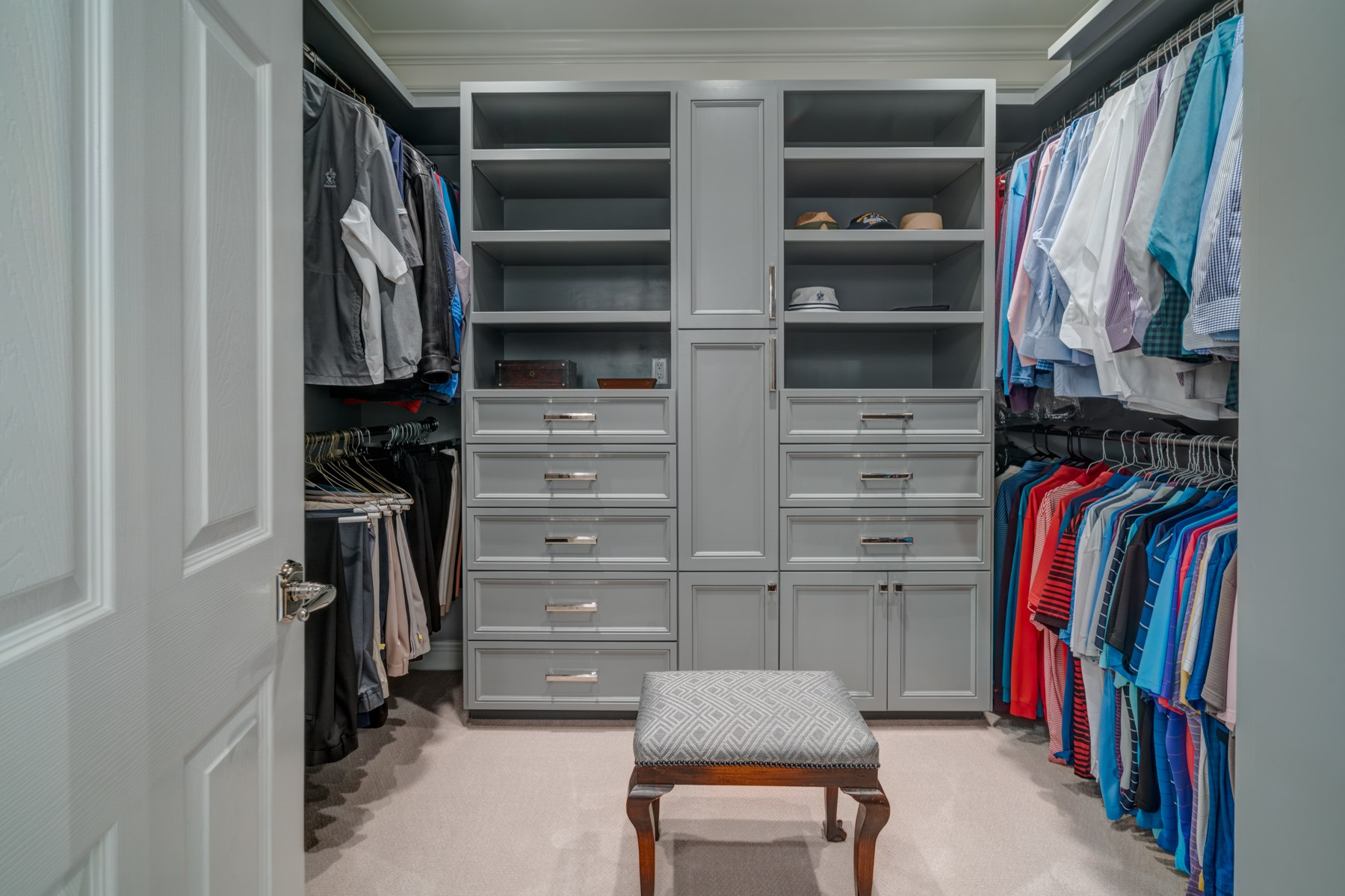 Custom cabinetry in the master closet