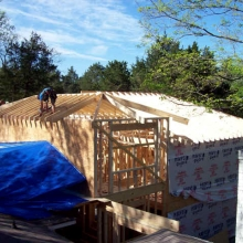 The new roof trusses